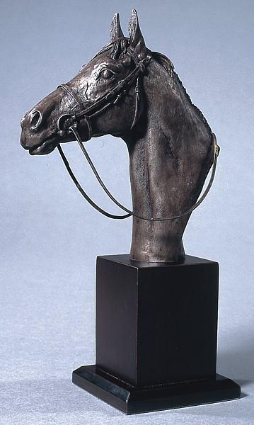 bronze bust racehorse head