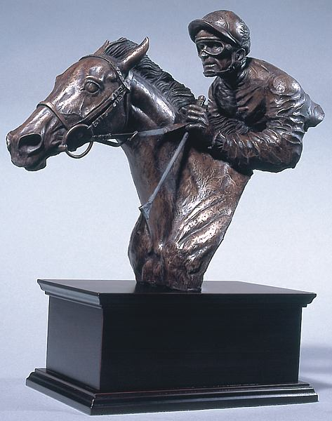 race horse and jockey bronze