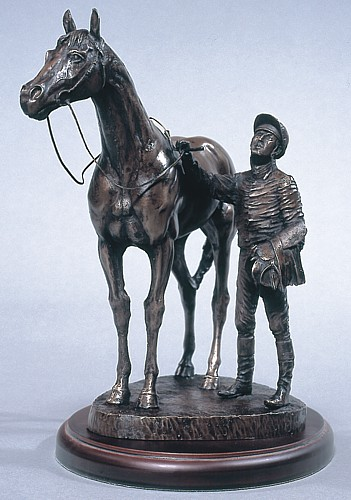 unsaddling the first race horse bronze